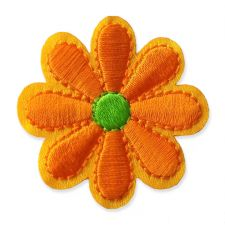 ORANGE DAISY MOTIF IRON ON EMBROIDERED PATCH APPLIQUE